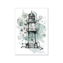 "Maritime Postkarte ""Vintage Leuchtturm"""