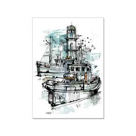 "Maritime Postkarte ""Vintage Hafen"""