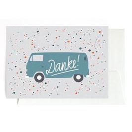 """Grußkarte """"Danke Bulli"""" mit Umschlag"""
