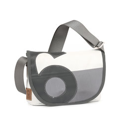 360° Handtasche Perle weiß/grau Zahl grau