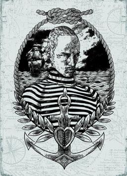 """Maritime Postkarte """"Vintage Kjell"""""""