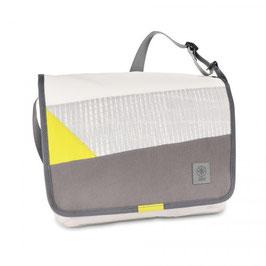 360° Messenger Bag Barkasse L Balken weiß/grau/gelb
