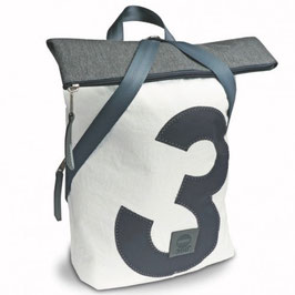 360° Rucksack Möwe weiß/grau Zahl grau