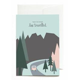 "Grußkarte ""Take the Road less travelled"" mit Umschlag"