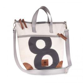 360° Handtasche Mini Deern weiß Zahl grau Gurt grau