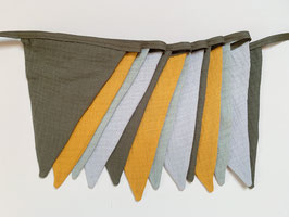 Wimpelkette small Musselin khaki, senf, grau und mint