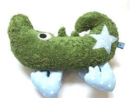 Kuschel Krokodil grün/hellblau