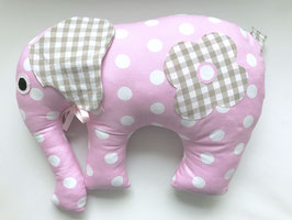 Elefant rosa mit beigen Ohren und Blume