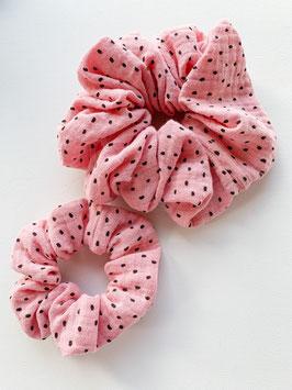Haargummi rose/schwarze Pünktli gross und klein