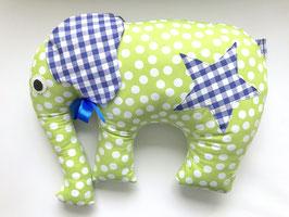 Elefant grün mit royalblauen Karo Ohren und Stern