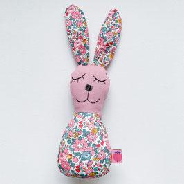 Blümchen-Bunny-Rassel rosa/petrol