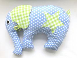 Elefant hellblau mit grünen Karo Ohren und Stern