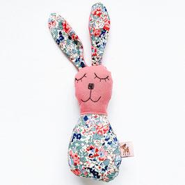 Blümchen-Bunny-Rassel dunkelrosa/dunkelblau