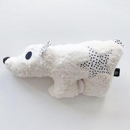 Eisbärenspieluhr ecru kleine weisse Punkte