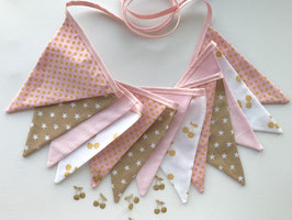 Wimpelkette small rosa/gold Kirschen