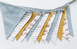 Wimpelkette small Regenbogen und Streifen rauchblau/senf