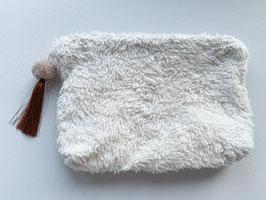 Flausch-Necessaire gross, mit Quaste und Pompon