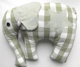 Elefant salbei Karo mit salbei Streifen Ohren und Stern