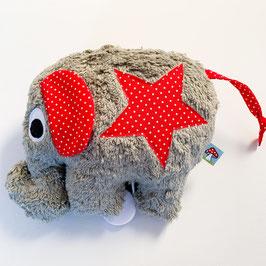 Elefantenspieluhr grau mit rot/weiss gepunkteten Stern