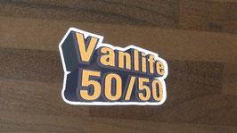 Aufkleber Vanlife 50/50, Sticker, ca. 7,5 cm breit