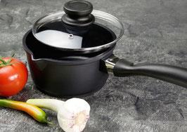 Aluguss-Stielkasserolle mit Glasdeckel –  16 cm
