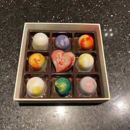 Pralinenbox 9 Stück - Schokoladenpralinen (Schokobonbons)
