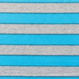Jersey Streifen Mit Punktlinie Aqua