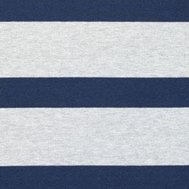 Jersey Bretone Streifen Groß Hell Grau-Dunkel Blau