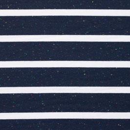 Jersey Multicolor Streifen Groß Marine-Weiß