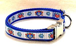 Halsband bayrisch Herz auf blau mit Aluschließe