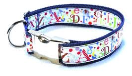 Halsband ABC blau mit Aluschließe