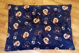 Bio-Dinkelspelz Liegekissen in dunkelblauem Wellness-Fleece mit Hunden