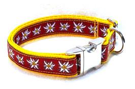 Halsband Edelweiß rot auf gelb mit Aluschließe