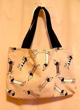 Einkaufstasche - Shopper mit Dackelmotiv in beige / schwarz