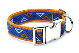Halsband Mexiko blau auf braun mit Aluschließe