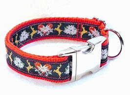Halsband Hirsch rot mit Aluschließe