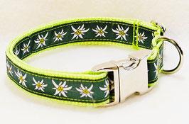 Halsband Edelweiß grün auf hellgrün mit Aluschließe