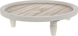 Holzteller mit weißem Fuß - Leihartikel