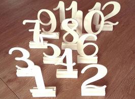 Tischnummern, weiß, 1 - 12 - Leihartikel