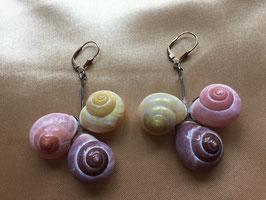 Schnecken Ohrringe mit vergoldetem Verschluss (Unikat)