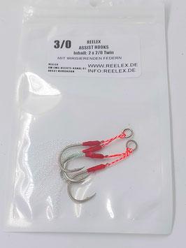 2 Stück Twin-Assisthooks Größe 3/0 mit irisierenden Federn