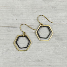 EARRINGS Hexagon Black & Gold