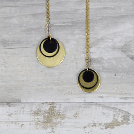 NECKLACE long Circles Black & Gold