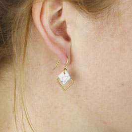 EARRINGS Square Marble