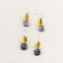 GEMSTONE Earring Fan & Square