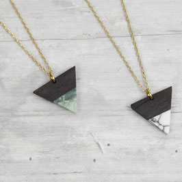 NECKLACE Wooden Triangle Gemstone