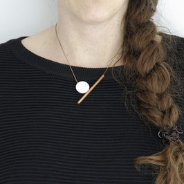 COPPER Necklace short asymmetrical Tube & Coin