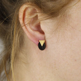 STUDS Triangle Circle Black & Copper or Gold 2 in 1