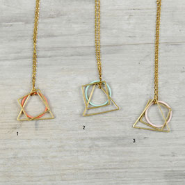 NECKLACE long different Shapes & colored Circle