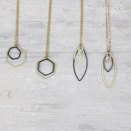 NECKLACE long mixed Shapes Black & Gold